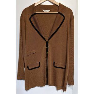 Exclusively Misook   Long Gold Button Cardigan
